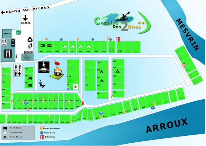 Plan du Camping des 2 rives dans le parc du Morvan - Bourgogne - Mise à jour le 01/10/2020